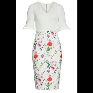 Ted Baker Hedgerow Flounce Sleeve Body-Con Dress